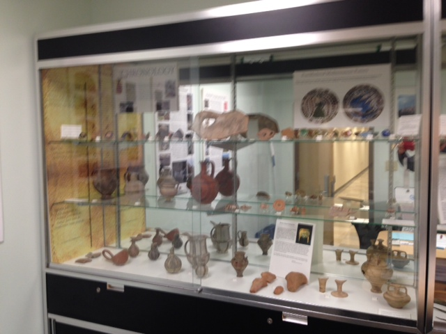 Display case of artifacts